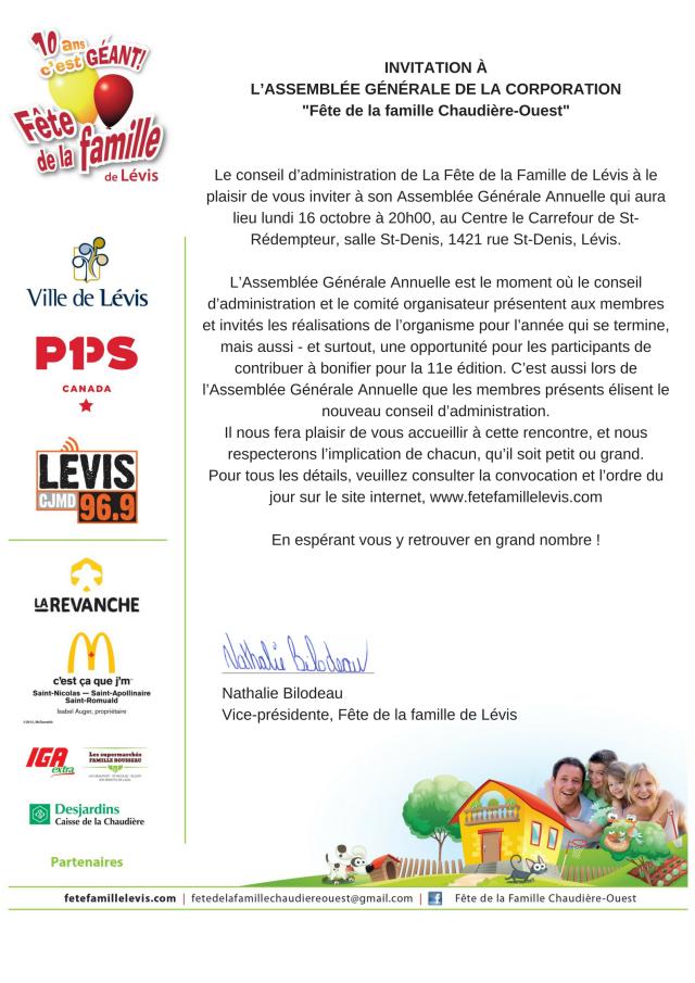INVITATION ÀL_ASSEMBLÉE GÉNÉRALE DE LA CORPORATION-Fête de la famille Chaudière-Ouest-Le conseil d_administration de La Fête de la Famille de Lévis à le plaisir de vous invi